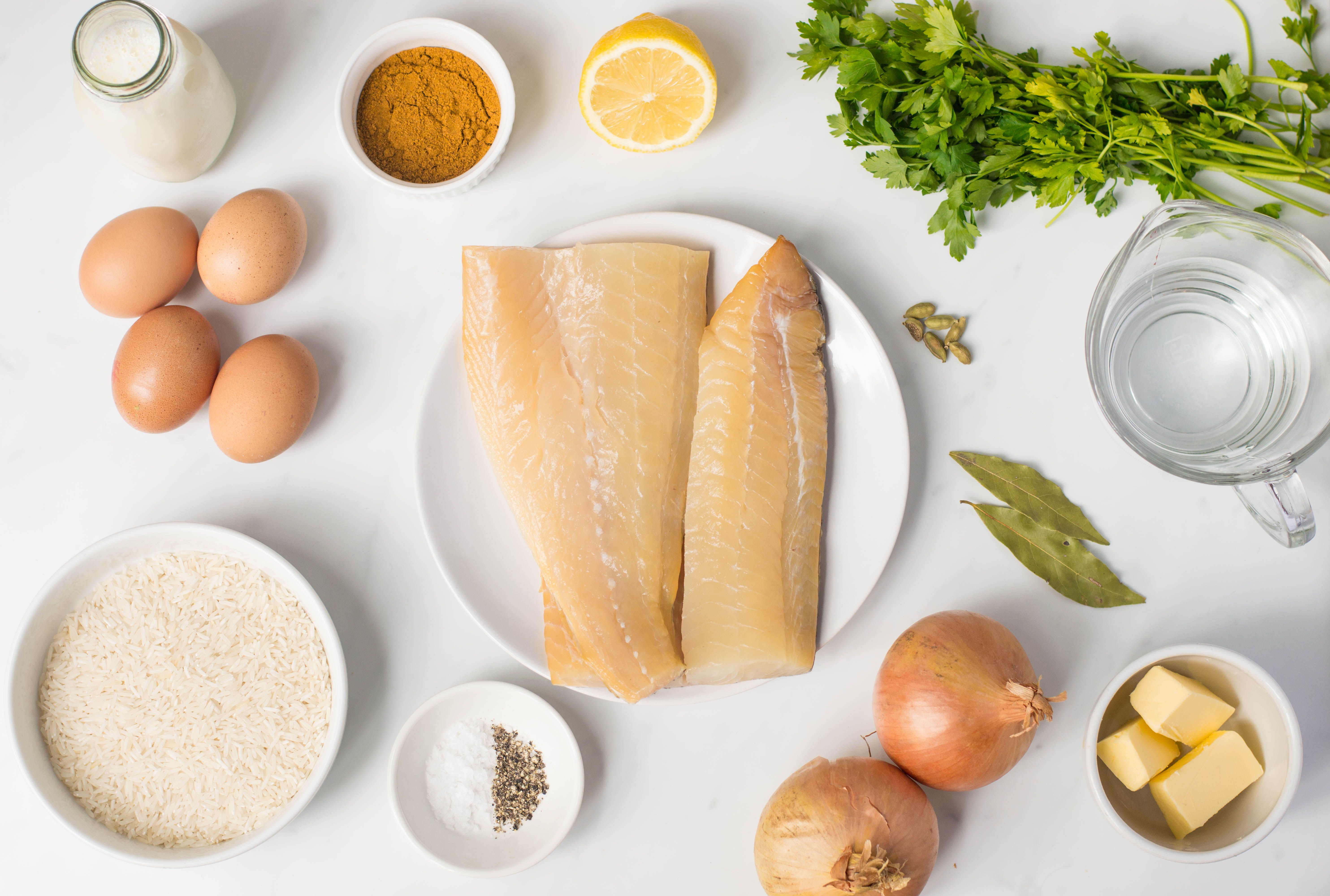Ingredients for making traditional kedgeree