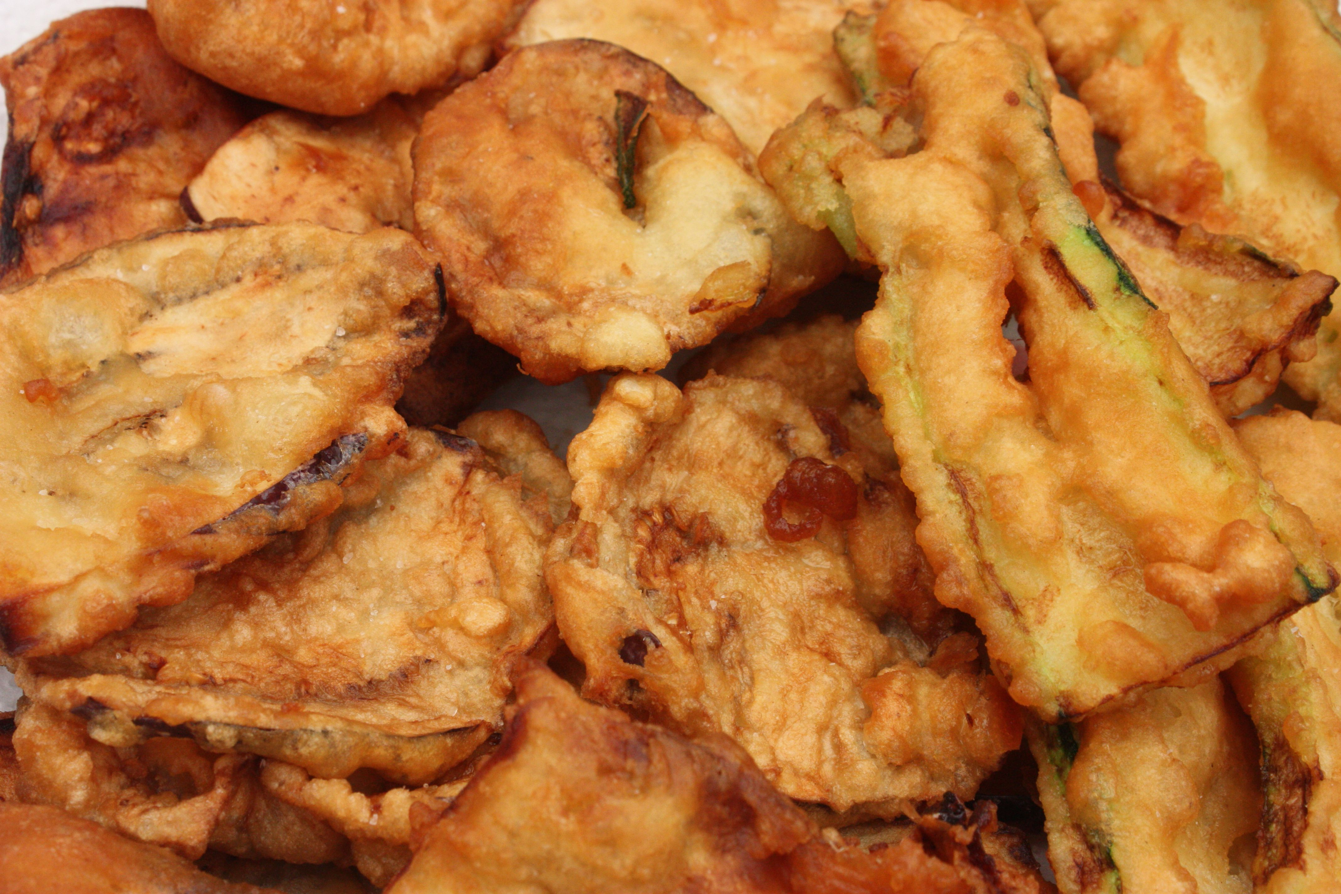 Zucchini and eggplant fritters
