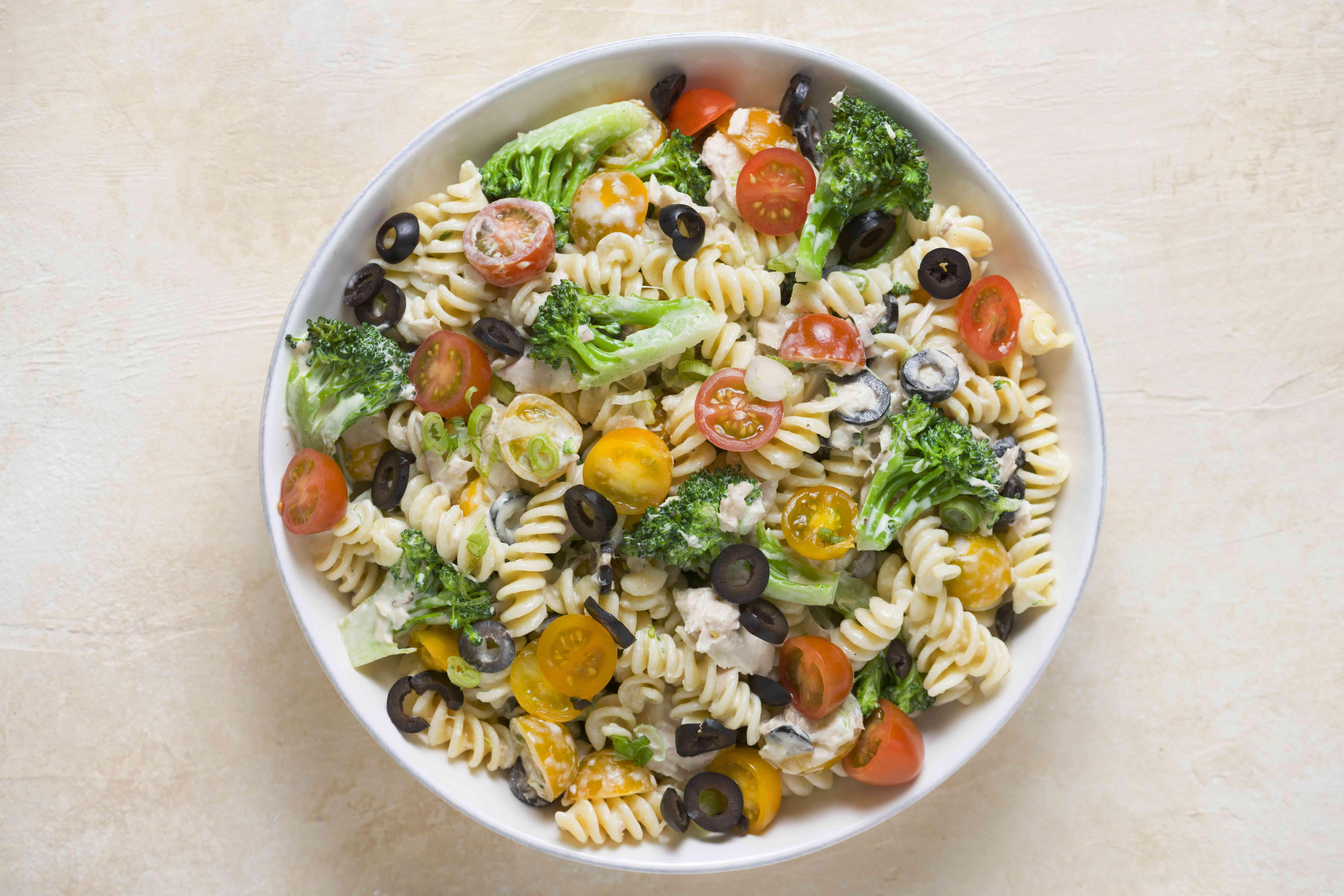 Tuna and Veggie Pasta Salad (Parve) in a bowl