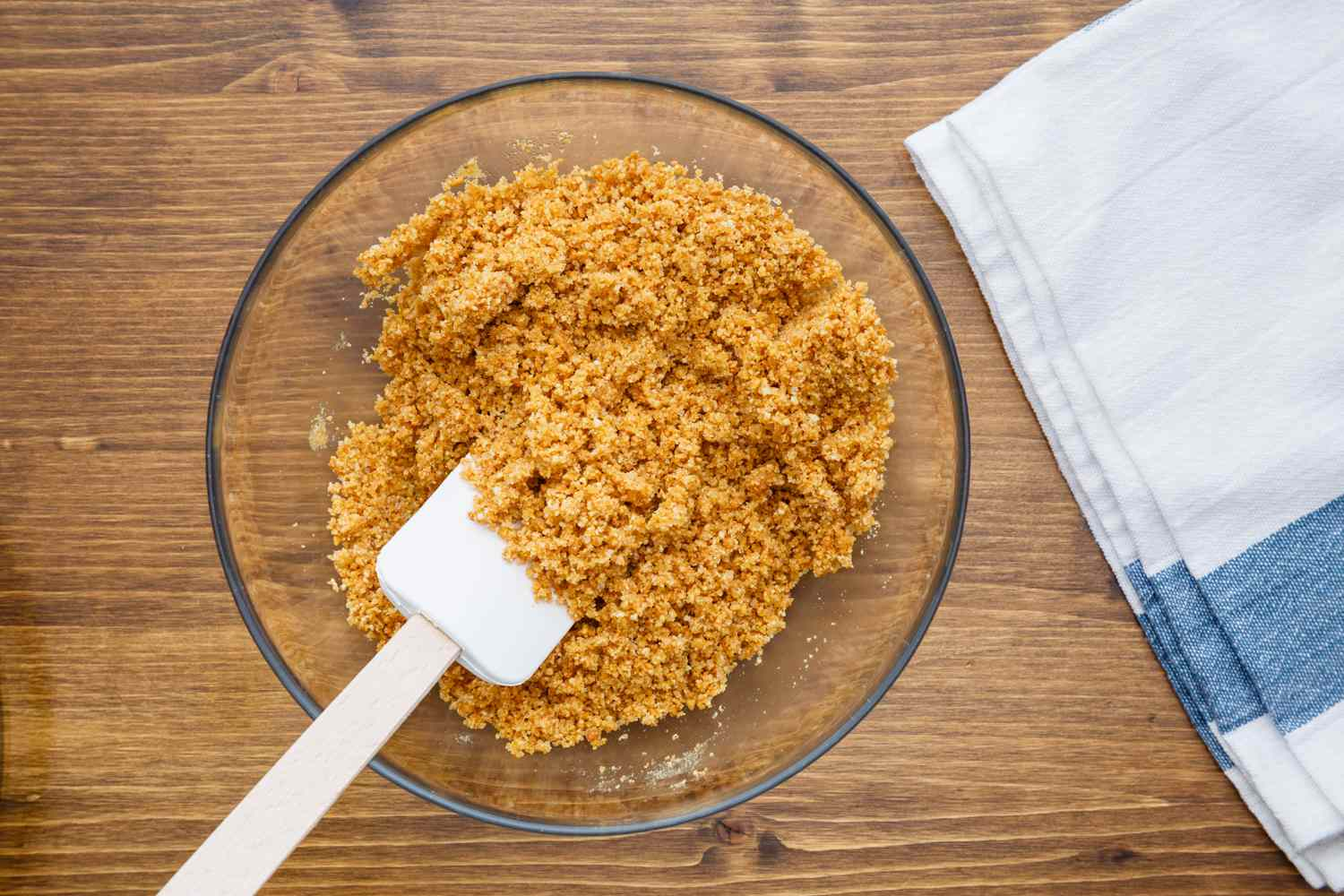 Pour crumbs in bowl