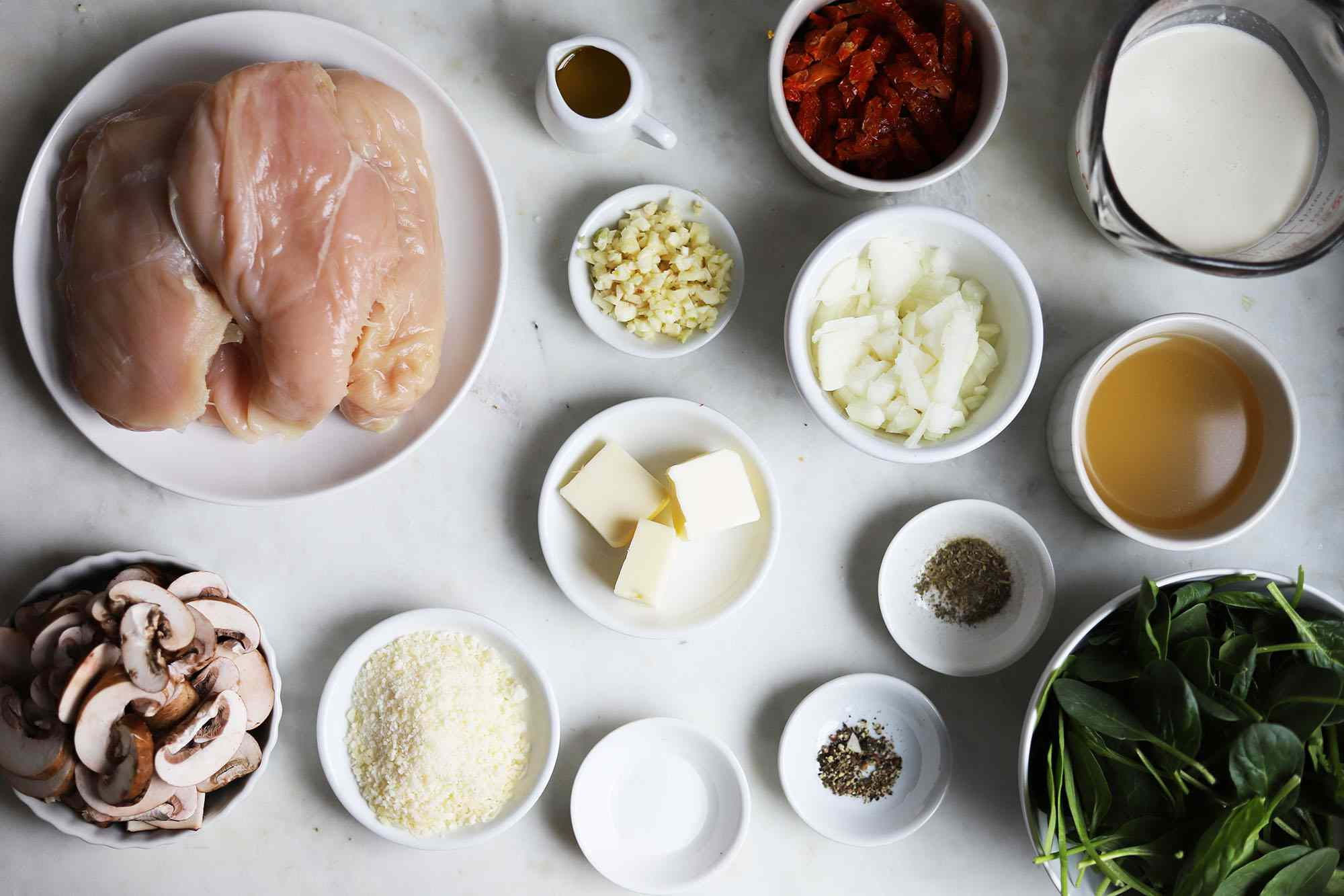 ingredients for Instant Pot Tuscan chicken