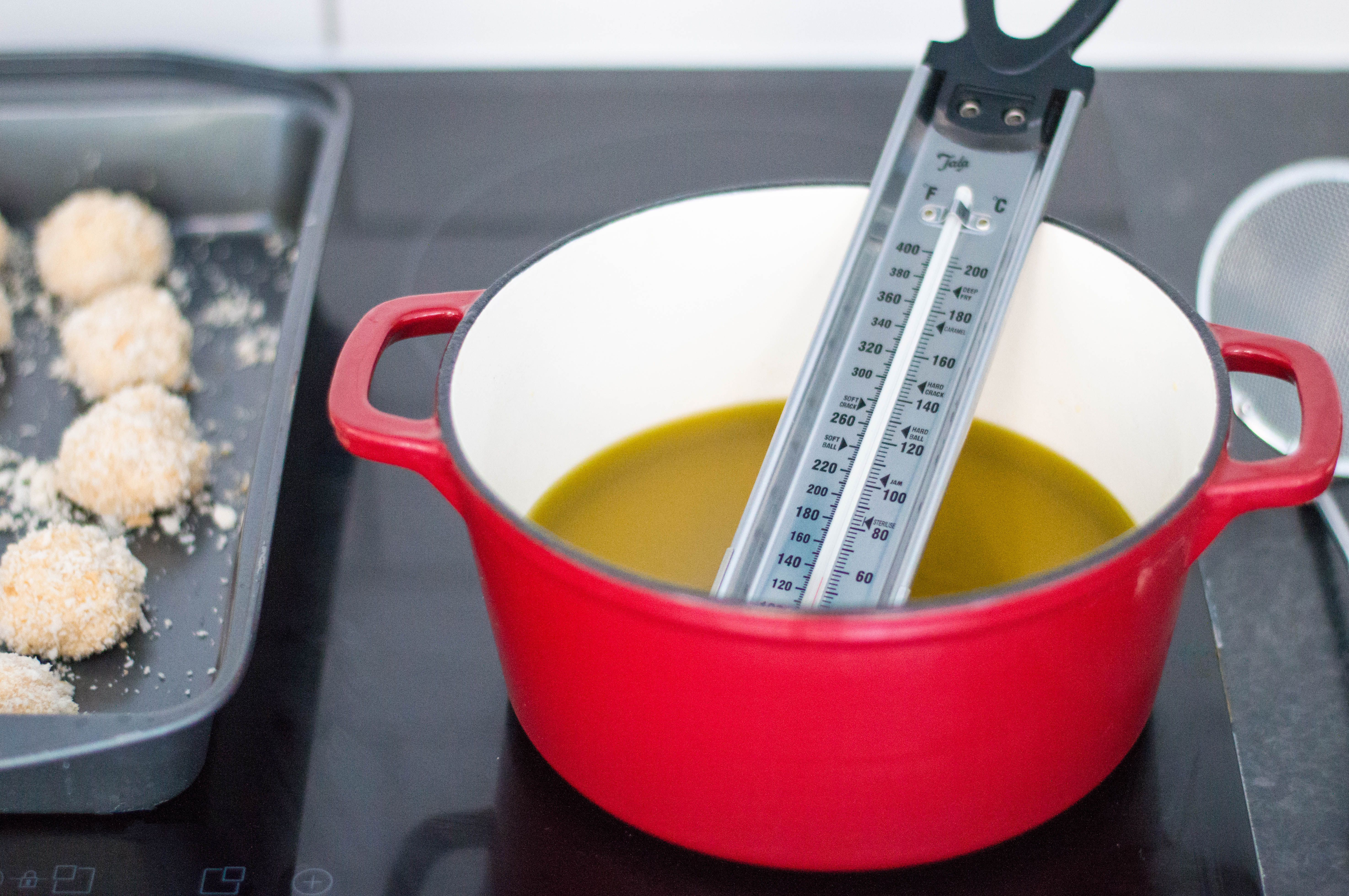 Taking the temperature of the frying oil