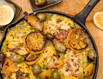 Moroccan chicken in a cast-iron pan