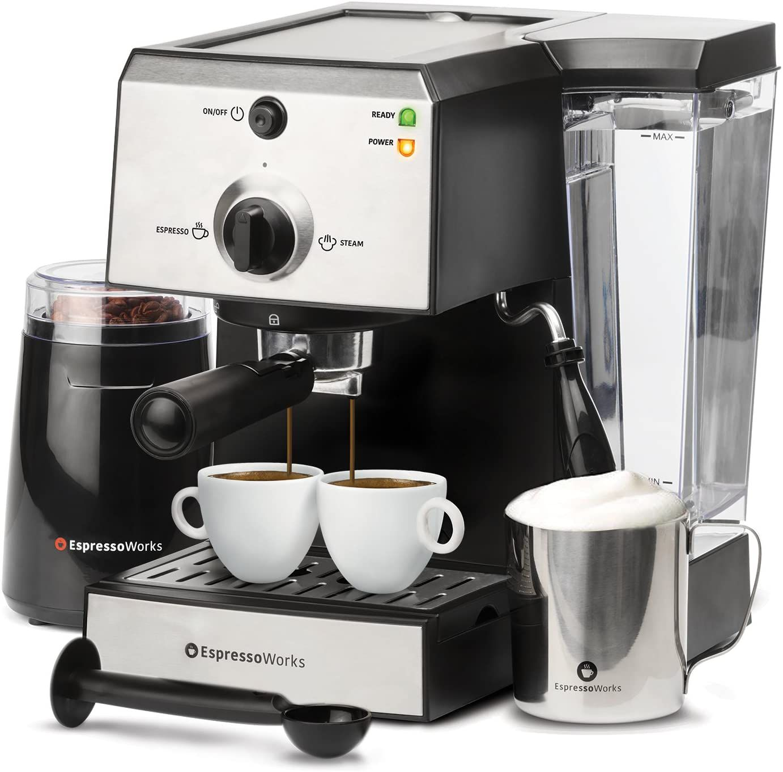 EspressoWorks 7-Piece All-In-One Espresso Machine & Cappuccino Maker Barista Bundle Set