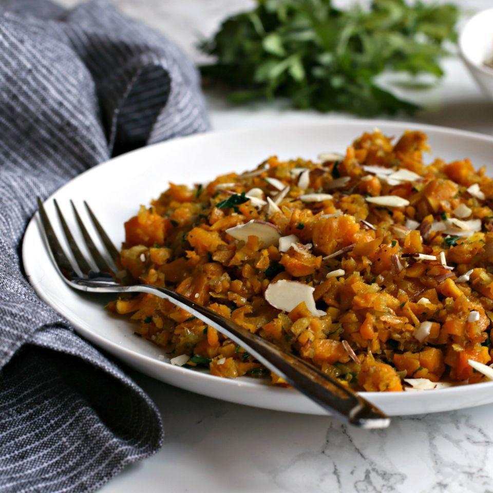 Butternut Squash Rice with Cumin and Slivered Almonds