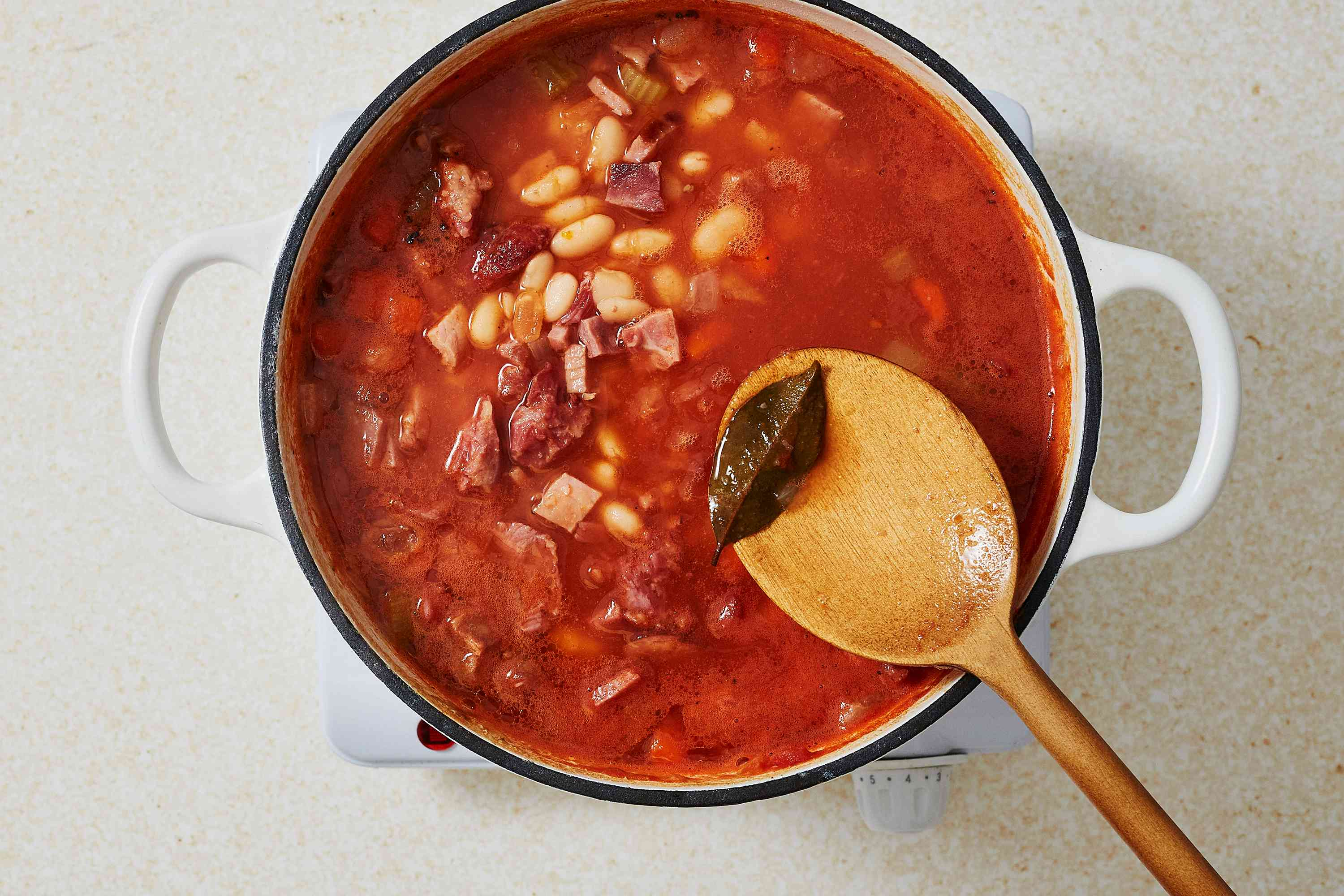 Hearty Ham and Bean Soup in a pot