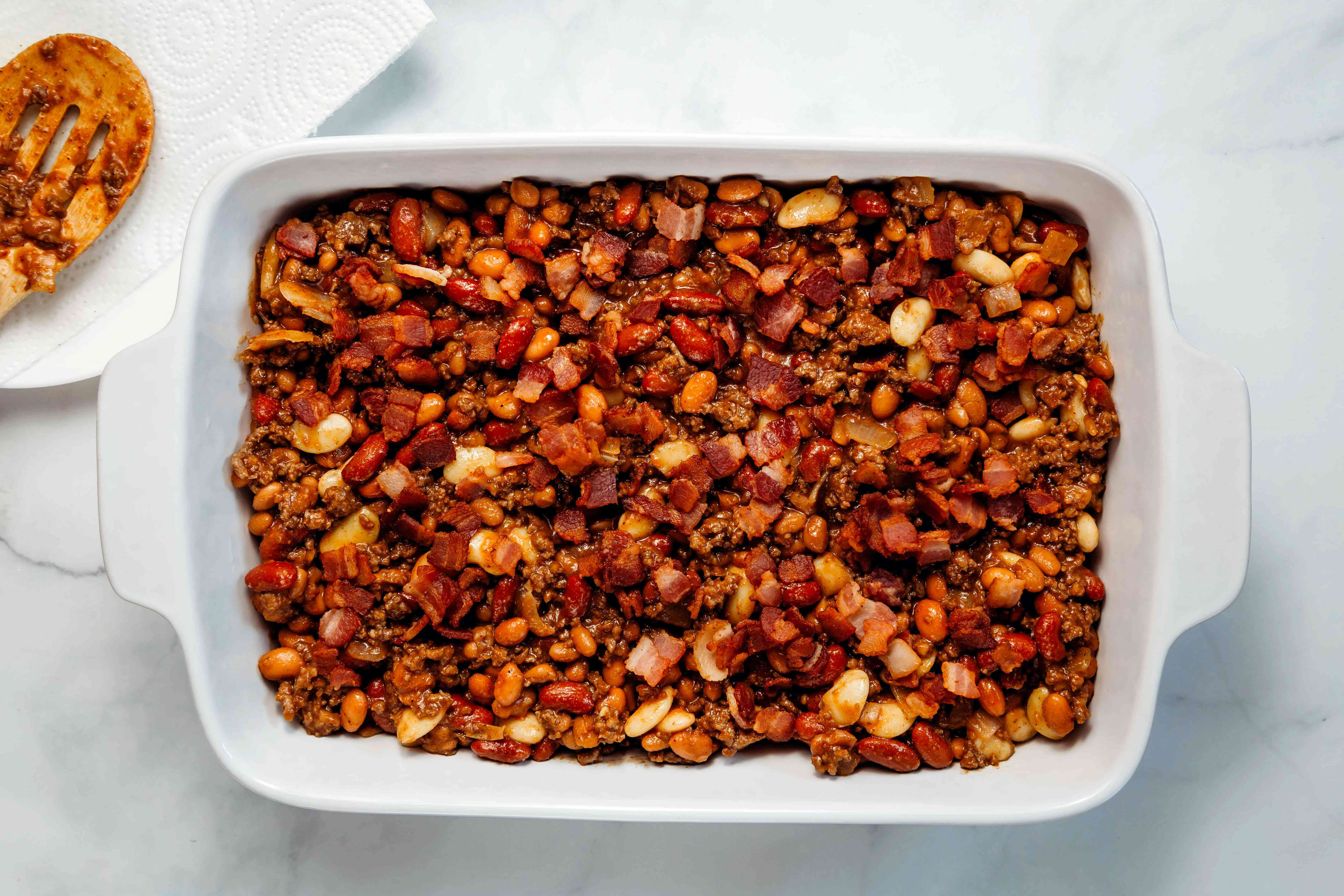 beef and bean mixture in a baking dish