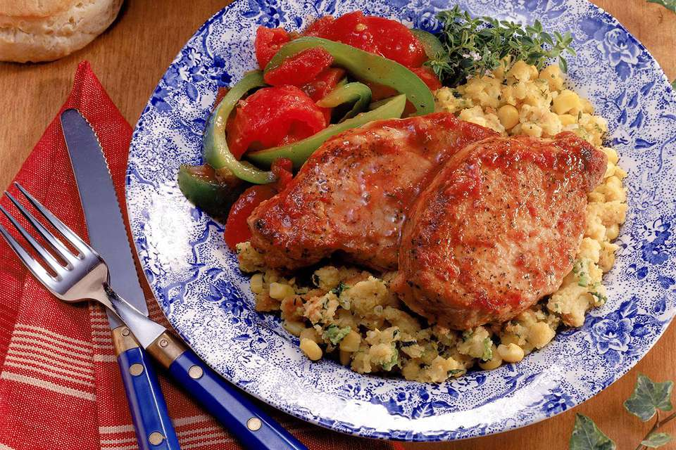 Pork chops and cornbread stuffing