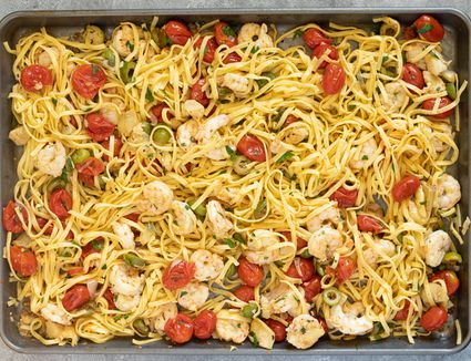 Sheet pan puttanesca with shrimp and pasta