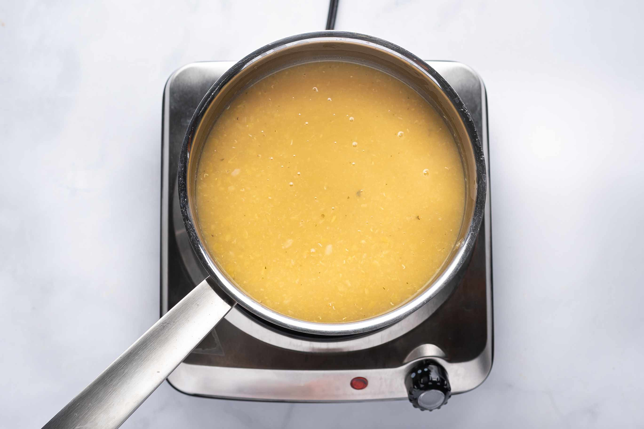 lentils cooking in a pot