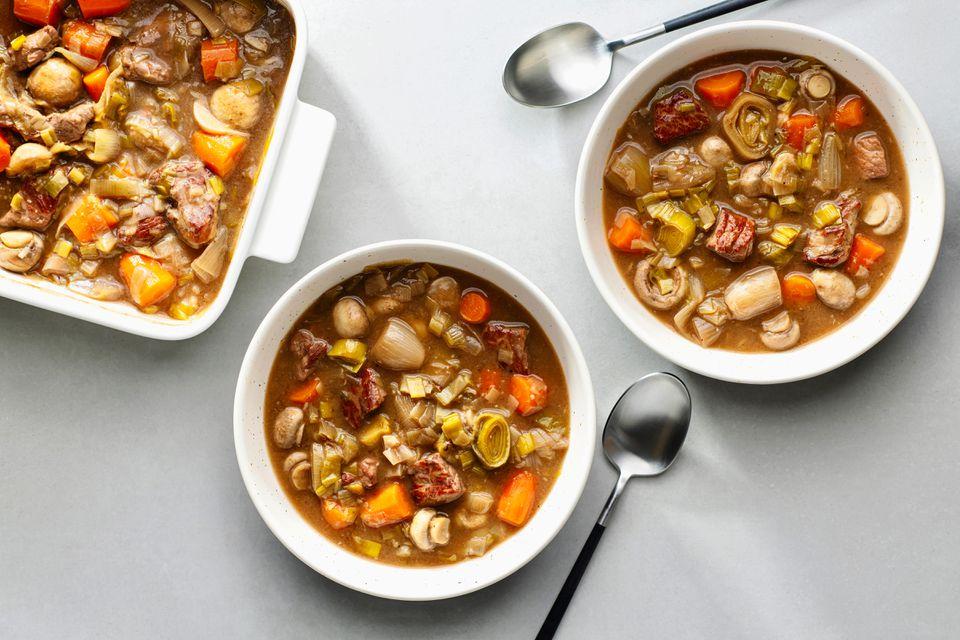 Beef, Leek and Mushroom Stew