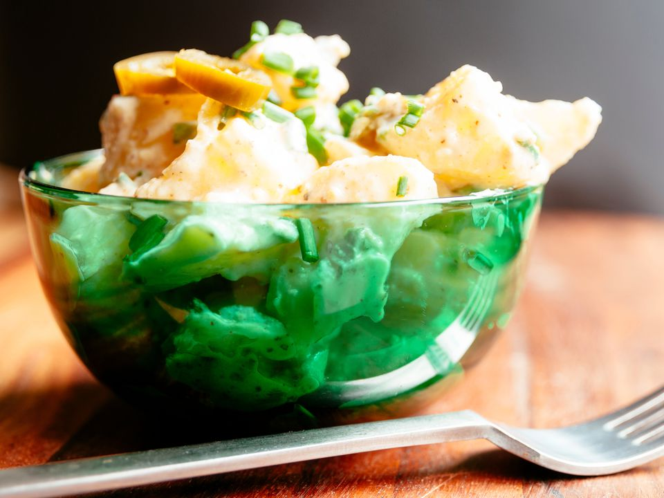 Close-up of Potato Salad in Bowl on Table