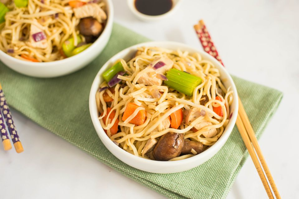 Turkey chow mein in a bowl