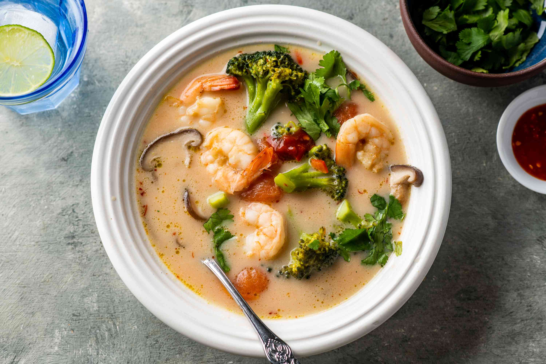 Serve soup with cilantro