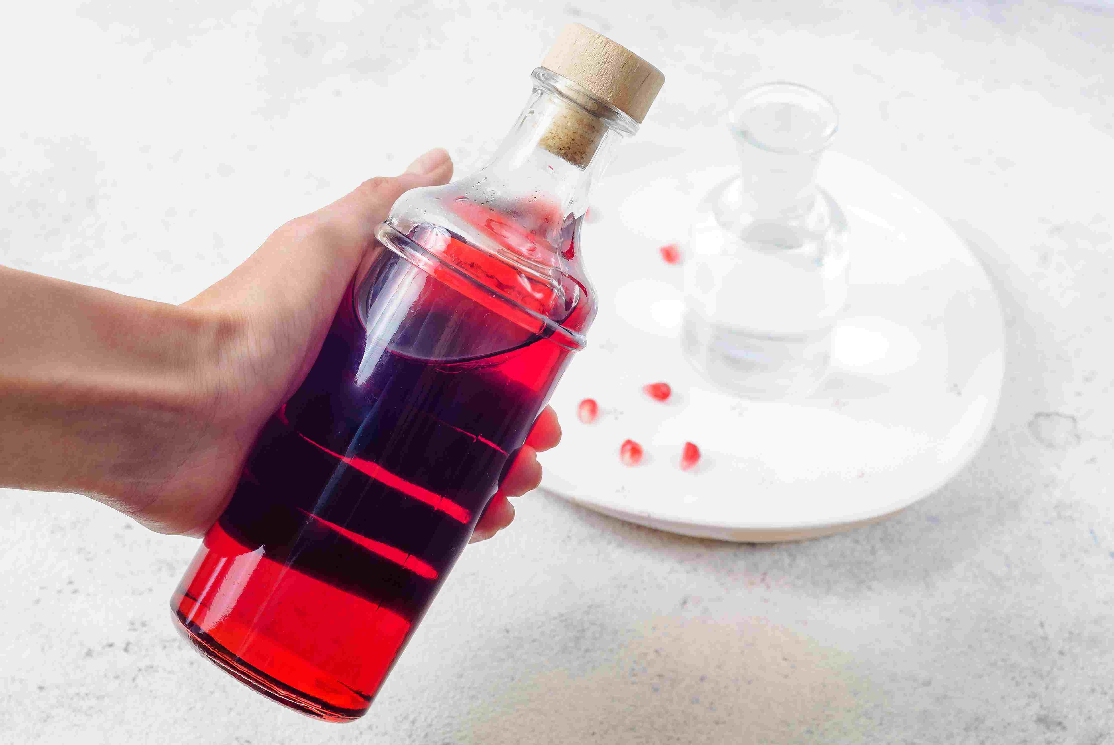 Sealed bottle of grenadine syrup