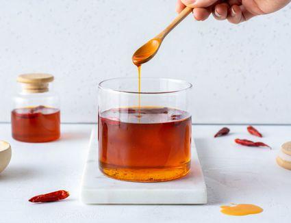 Chile Oil recipe, Chile oil in a glass container