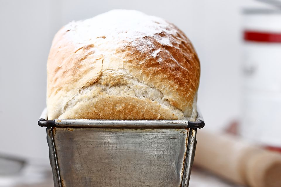 A loaf of bread in a tin.