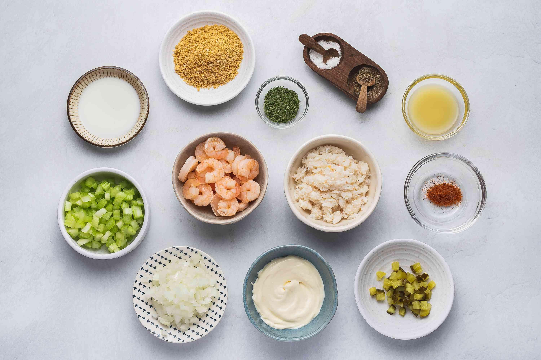 Easy Crab and Shrimp Salad ingredients