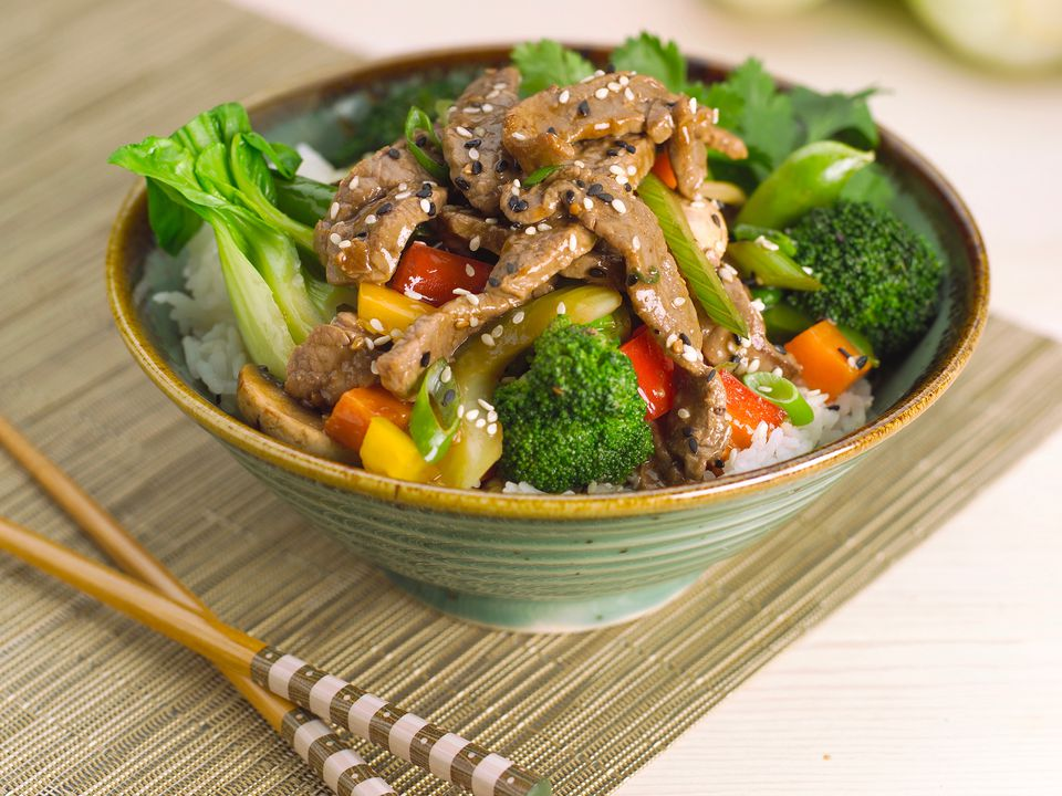 Sauteed Beef and Vegetables Over Rice