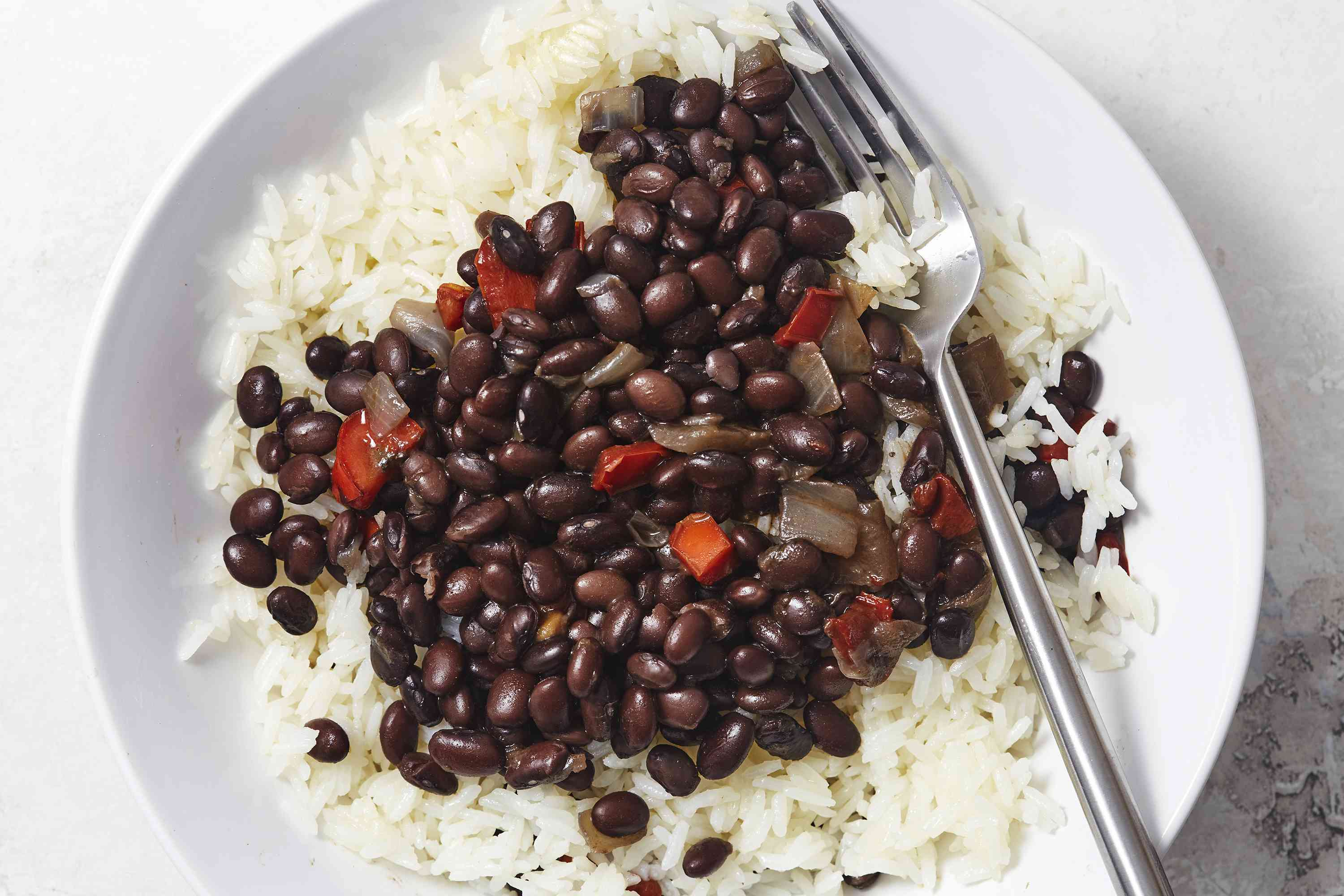Spanish Beans and Rice (Alubias Con Arroz) on a plate