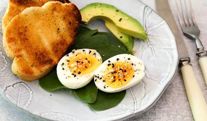 Hard-boiled eggs with everything bagel seasoning.