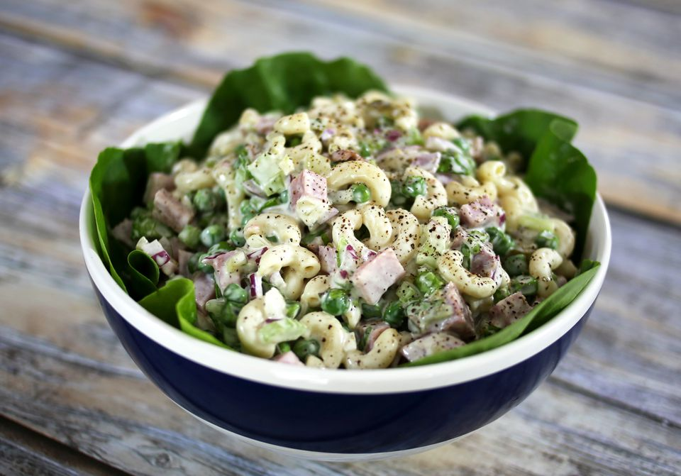 Macaroni Salad with Ham and Peas