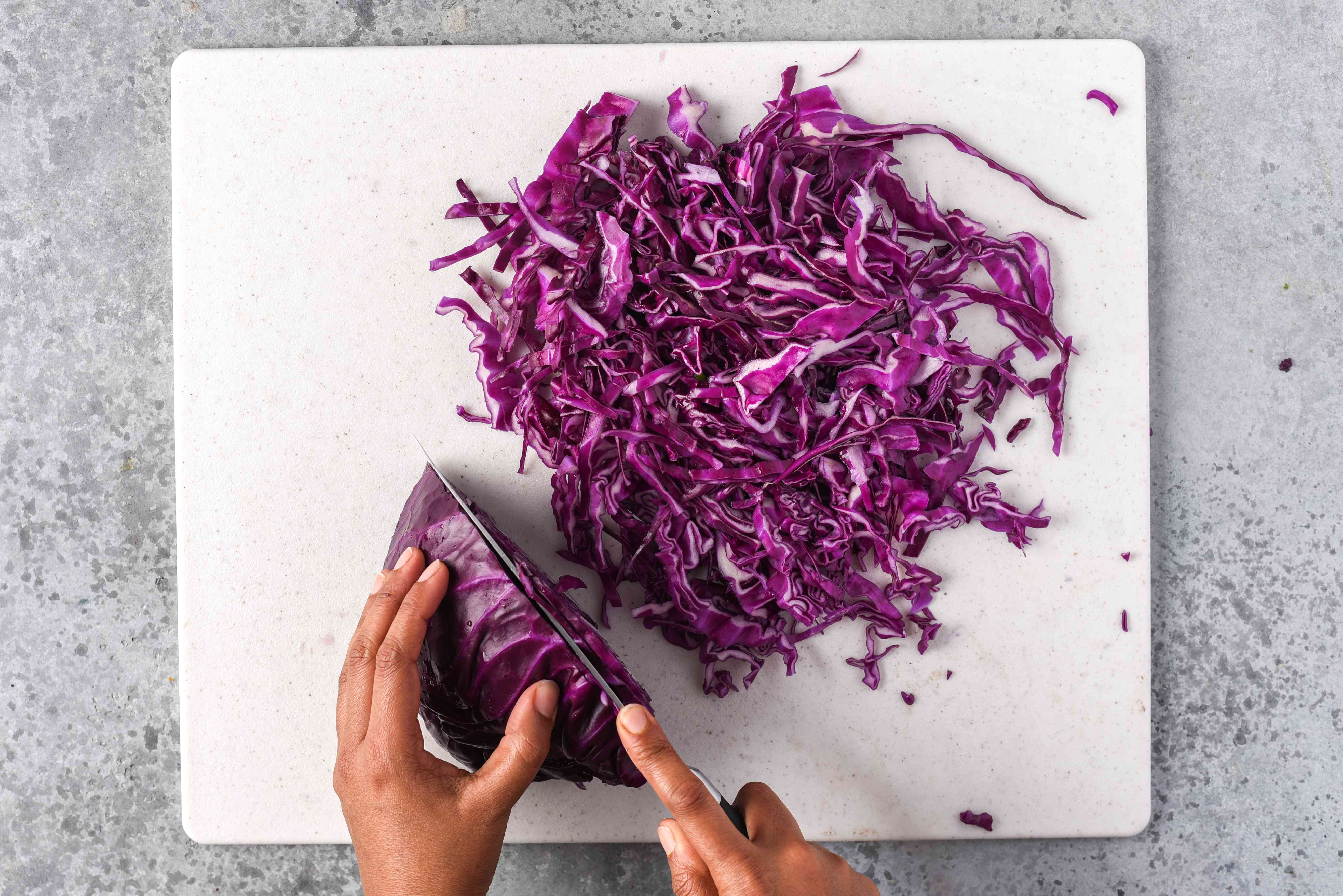red cabbage cut into thin pieces