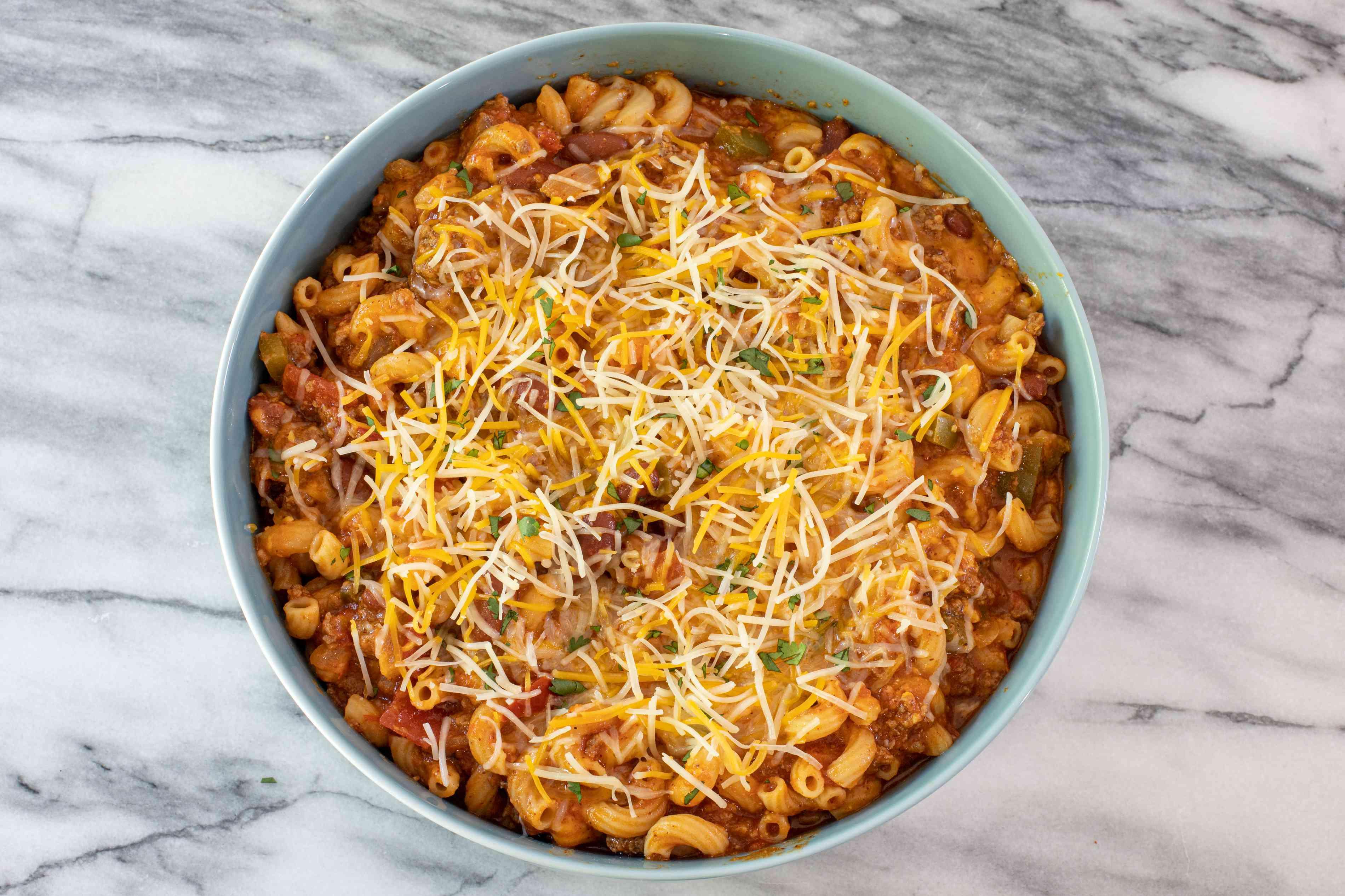 Bowl of spicy chili macaroni and cheese