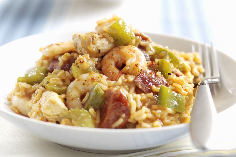 Jambalaya with sausage, chicken, and shrimp