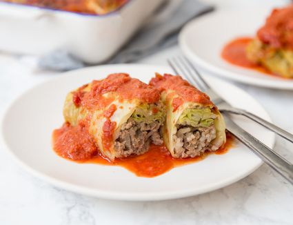 Stuffed Cabbage Rolls With Ground Beef and Rice recipe