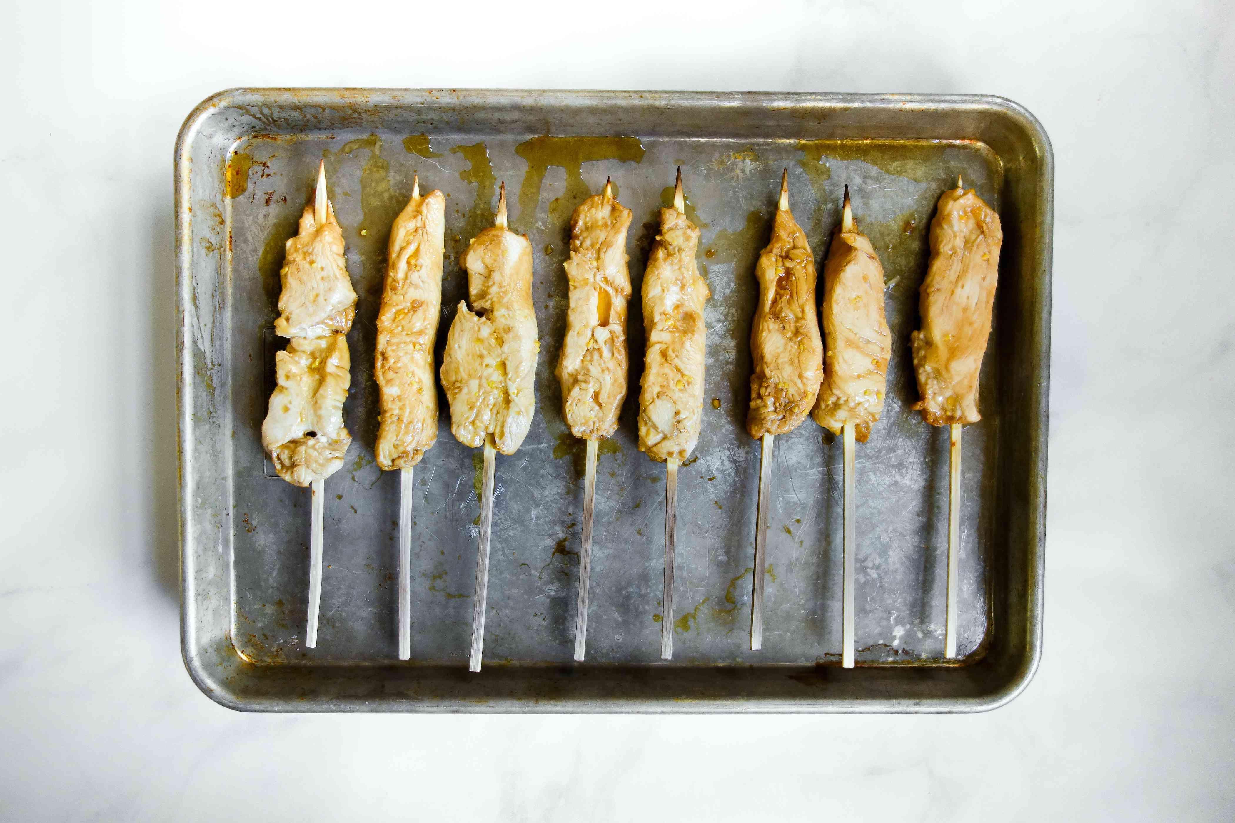 chicken on a baking sheet