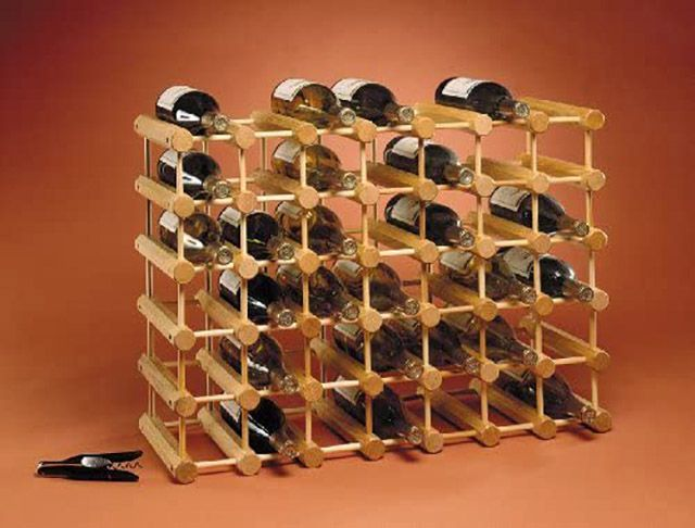 Adams Ash Wood 40-Bottle Wine Rack, Natural