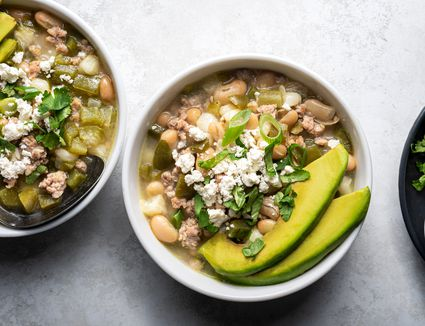 Two bowls of turkey green chili