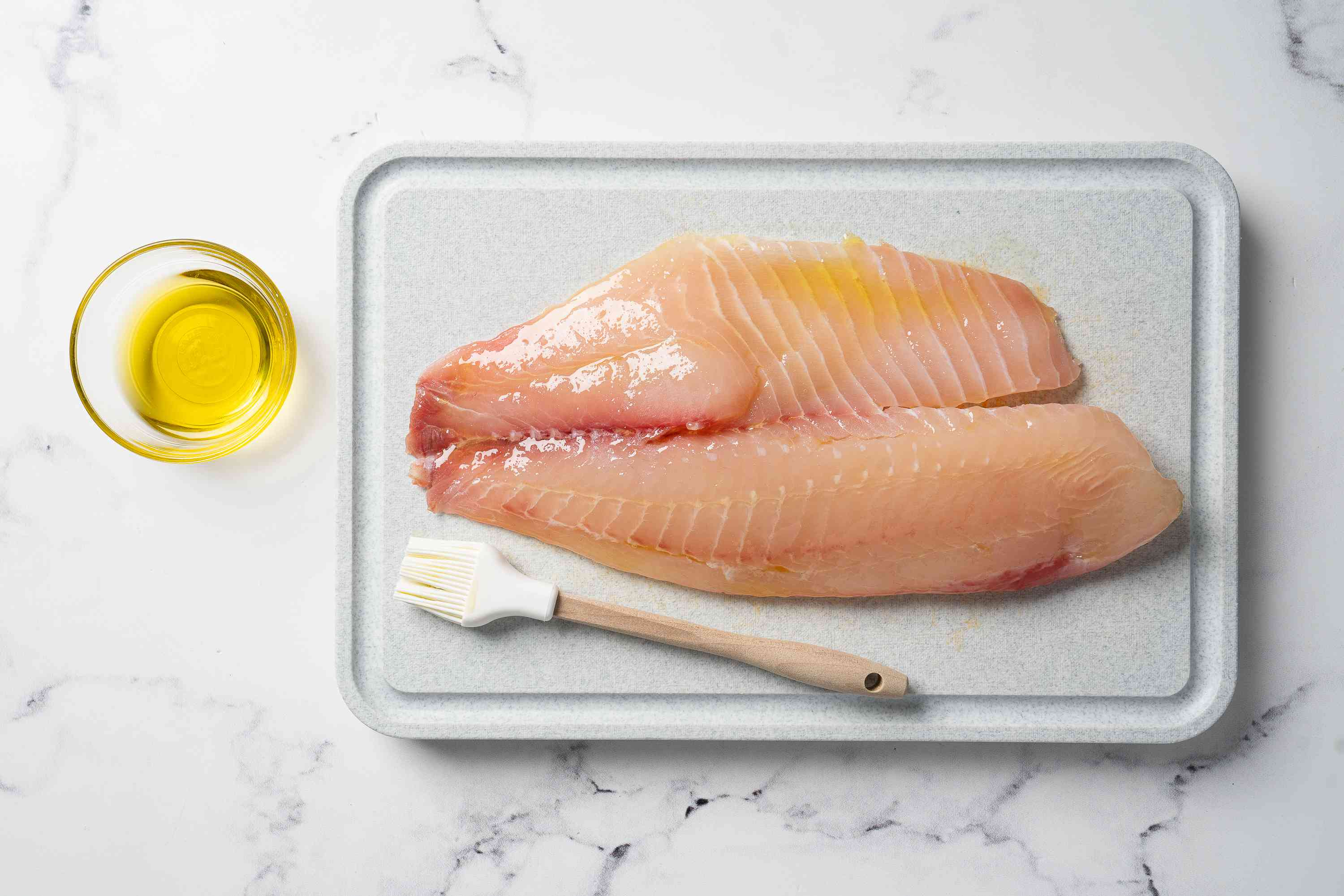 Tilapia brushed with oil