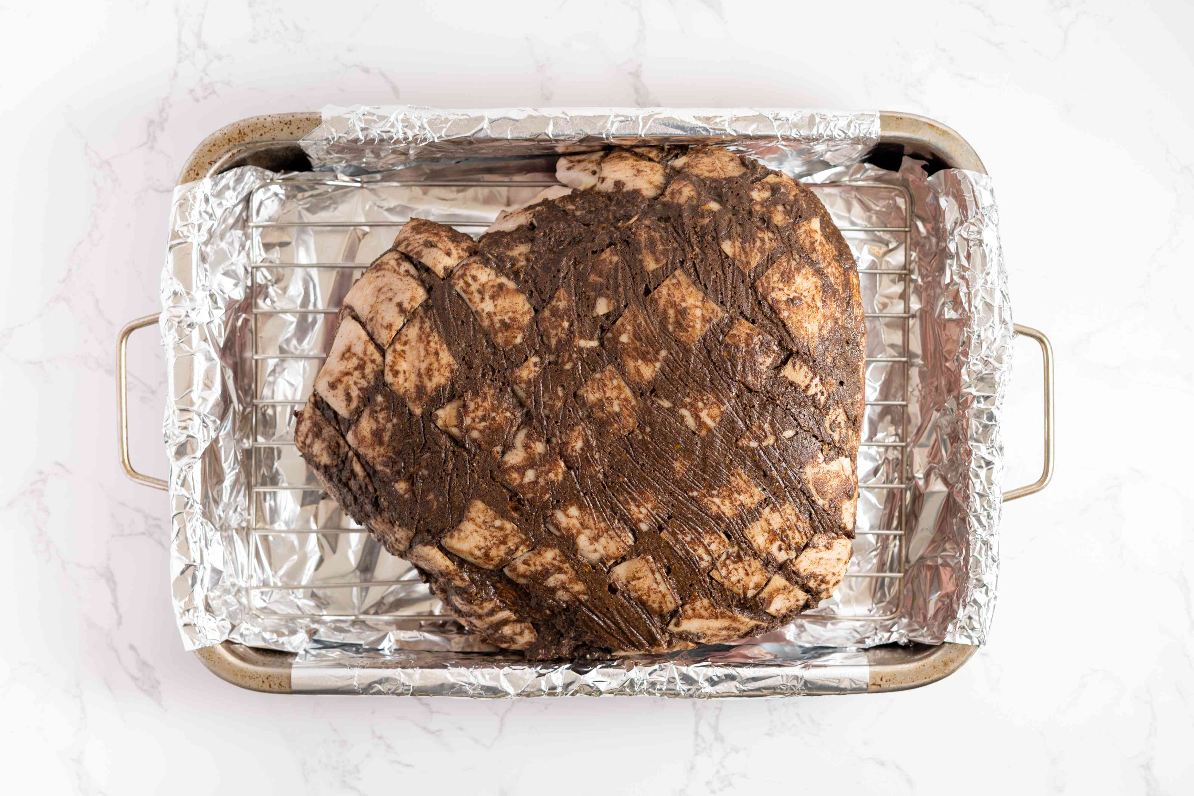 roast pork in a roasting pan