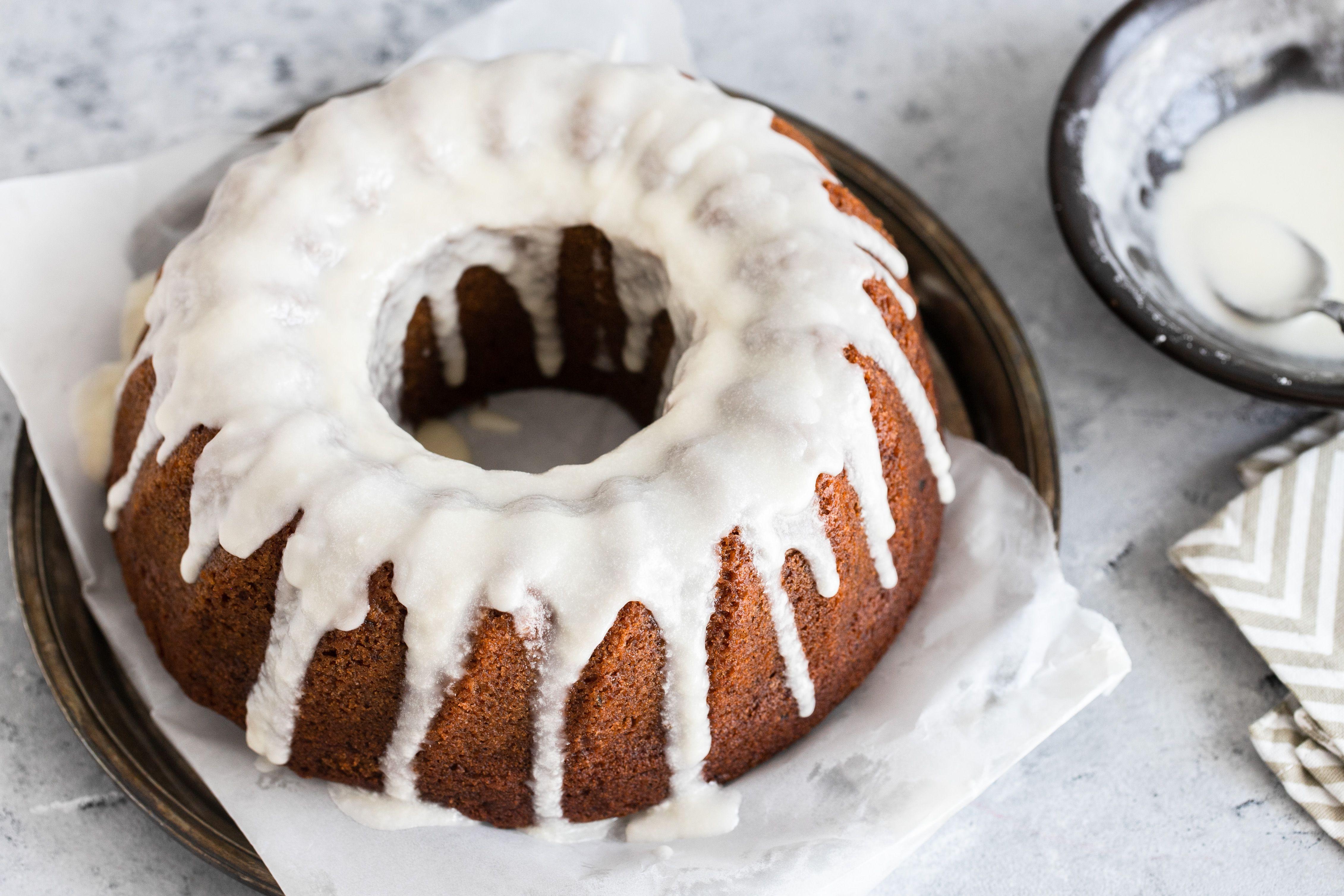 Vanilla icing over Bundt cake