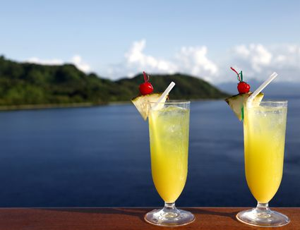 Tropical Rooibos Cooler Mocktails overlooking the ocean
