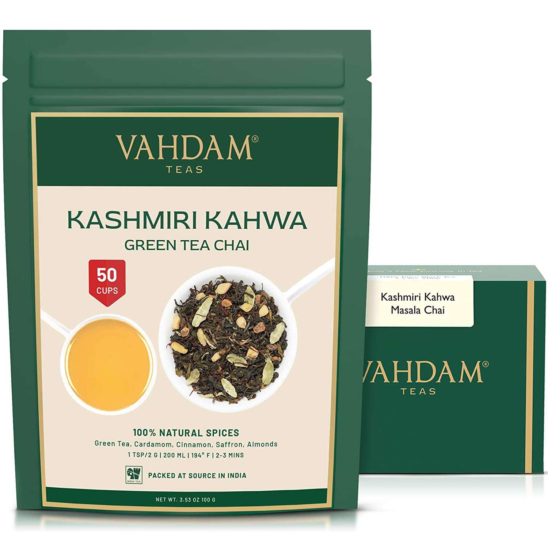 VAHDAM Loose Leaf Kashmiri Kahwa Green Tea Chai