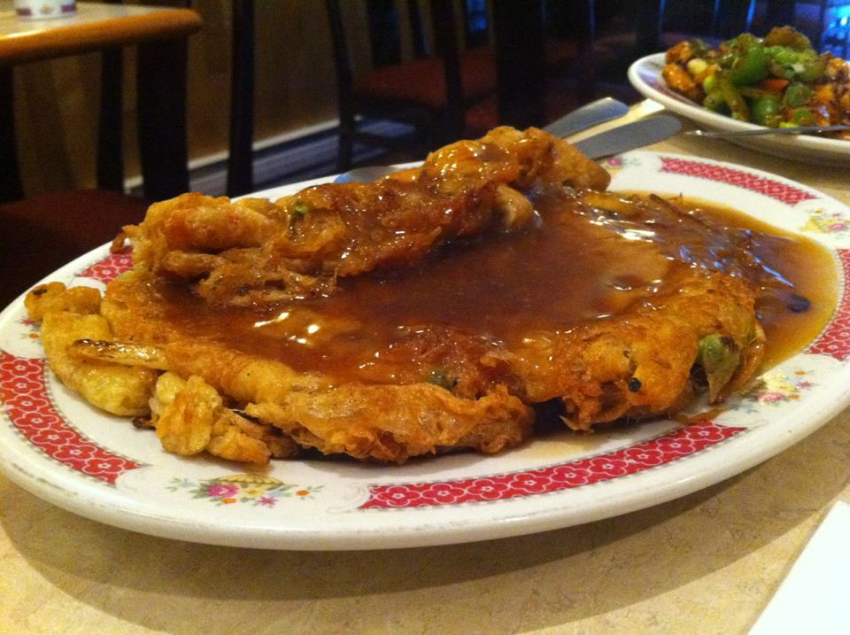 A plate of egg foo yung