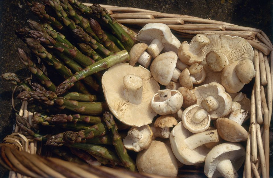 St Georges mushrooms and asparagus in basket