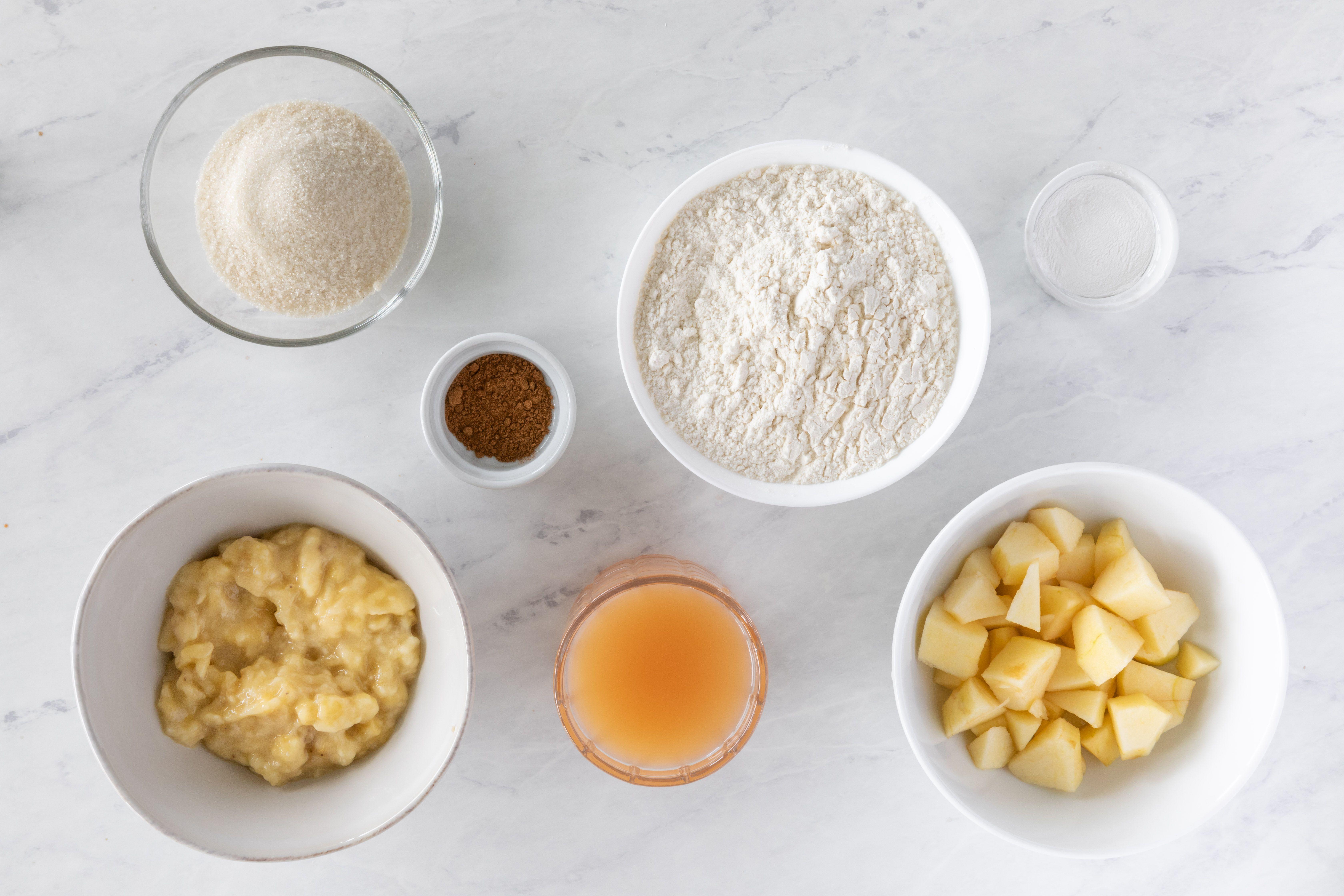 Ingredients for vegan apple banana muffins