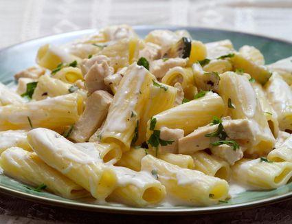 Chicken and zucchini pasta in a cream sauce