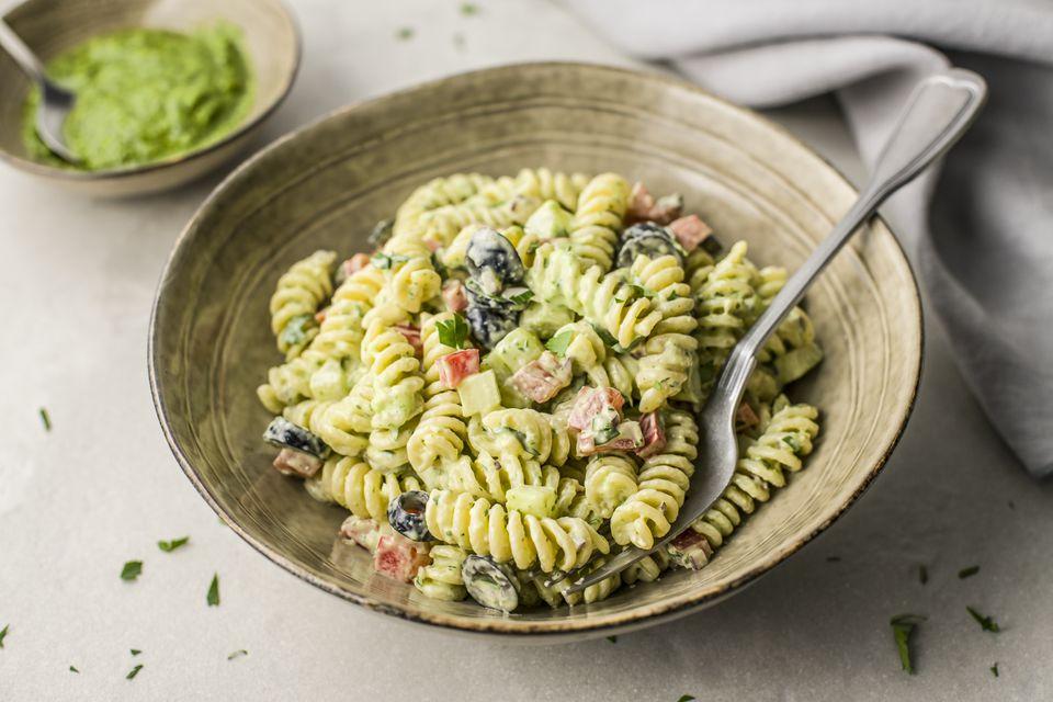 Garden pasta salad with rotini