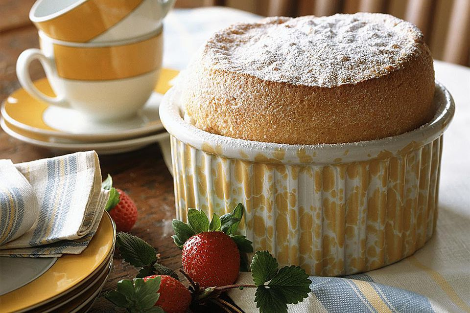 Vanilla souffle with Alpine strawberries