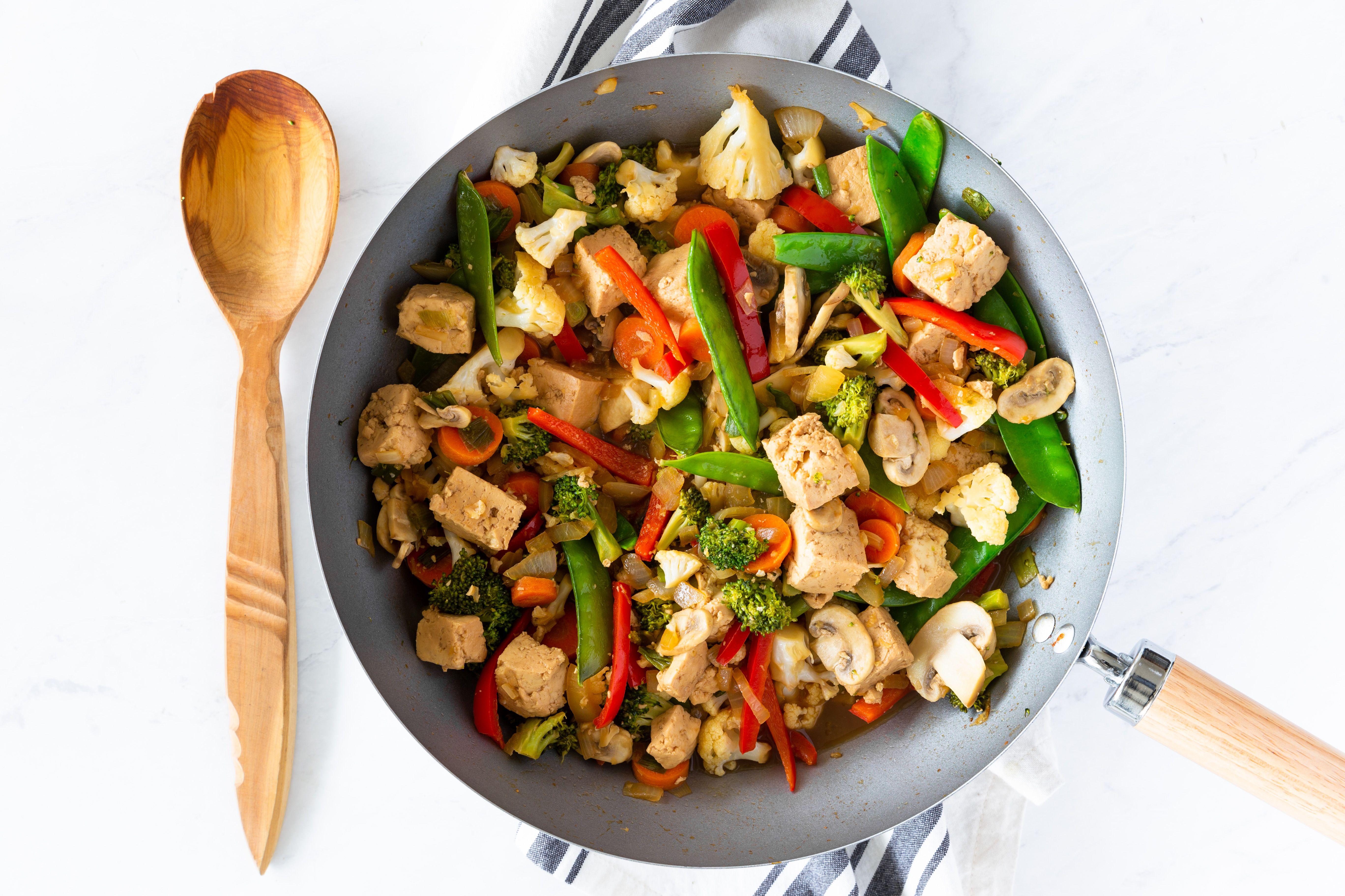 Tofu stir fry in pan
