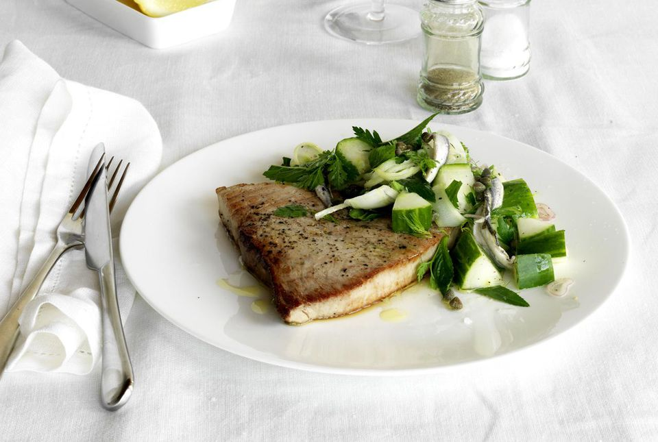 Broiled Swordfish with cucumber salad and parsley