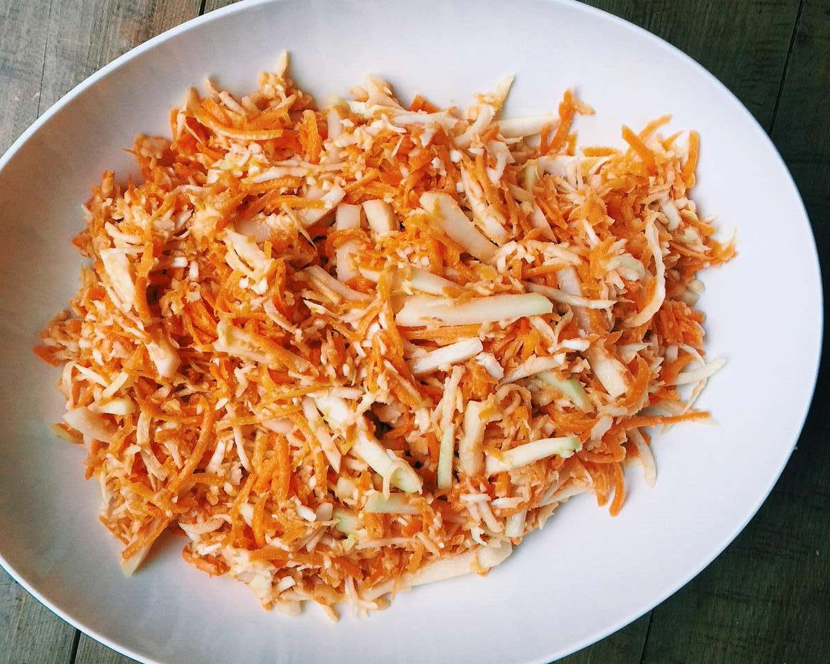 Carrot, Cabbage and Kohlrabi Slaw with Miso Dressing
