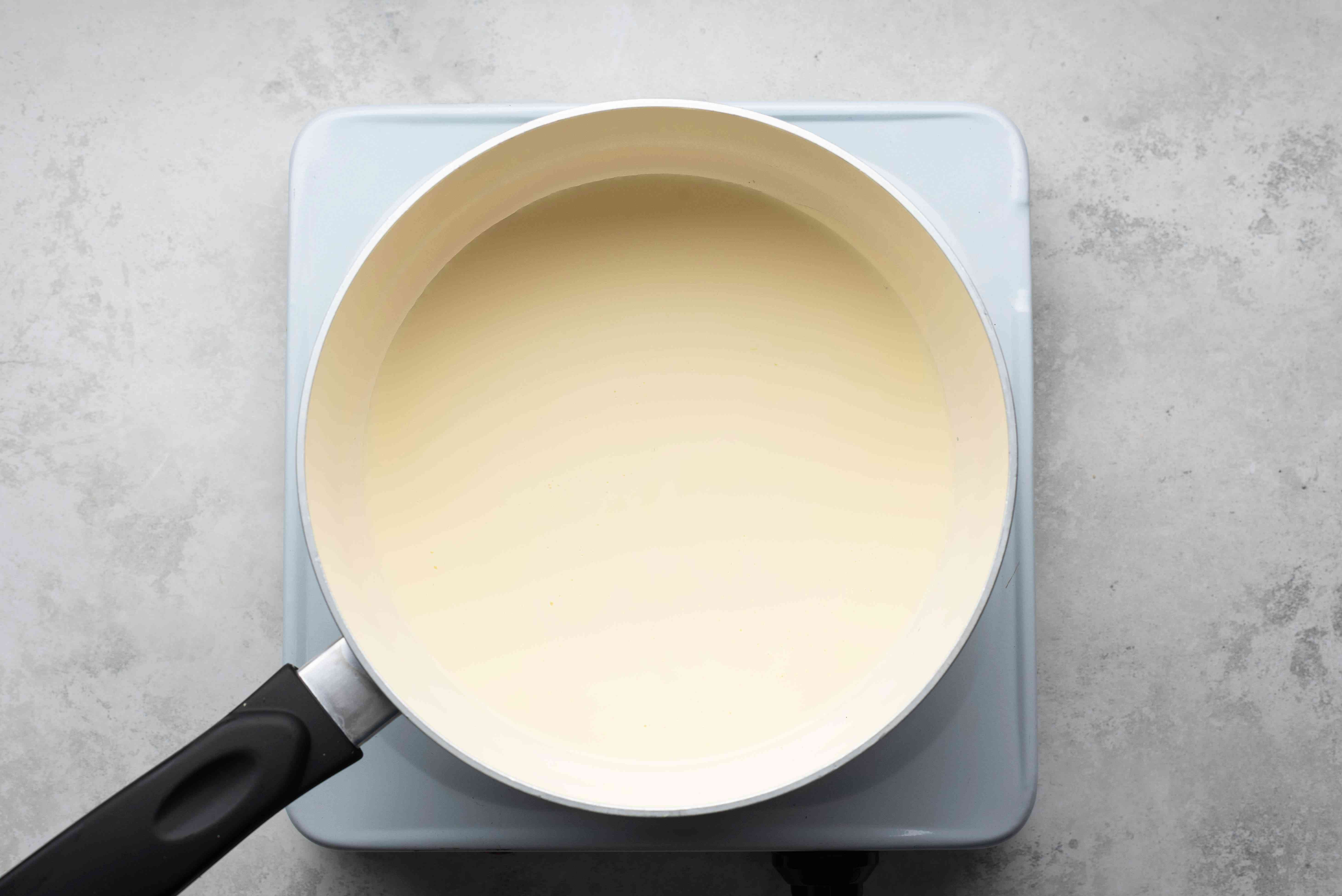 cream in a saucepan