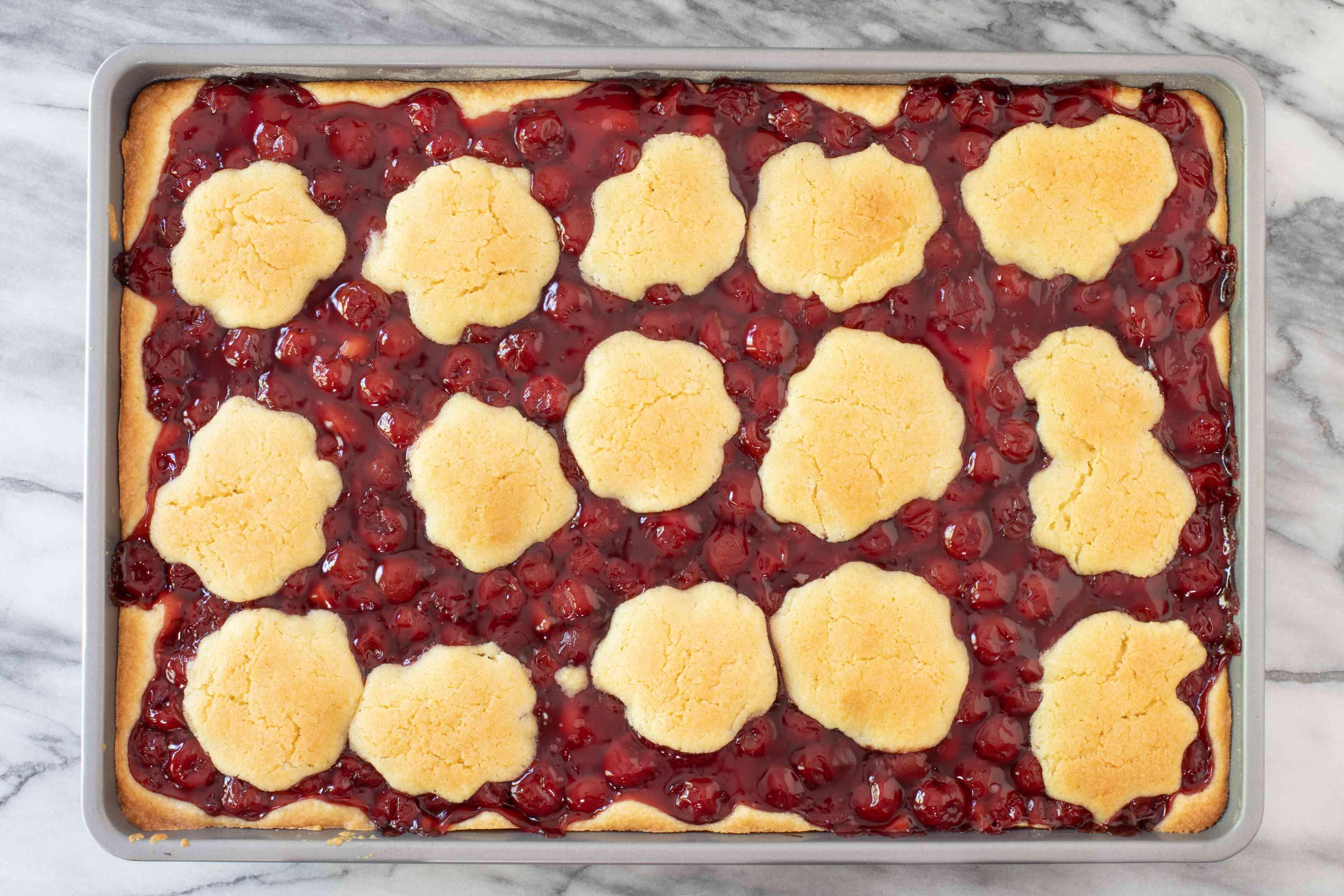 unglazed cherry pie bars in the pan