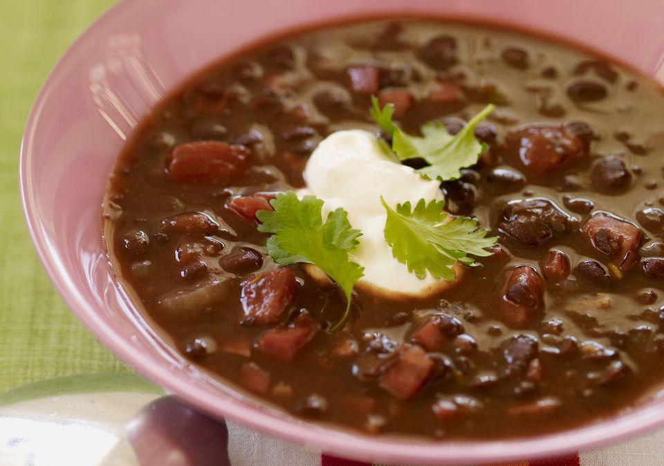 black bean soup with sour cream
